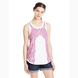 Lucky Brand sleeveless scoop-neck embroidered top